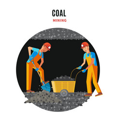 Professional miner people flat template vector