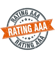 Rating aaa round orange grungy vintage isolated vector