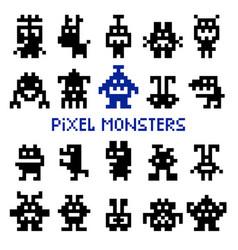 Retro pixel space monsters vector
