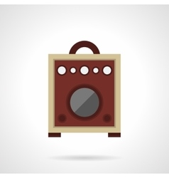 Retro wooden speaker flat color icon vector