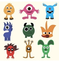 Set of cartoon cute character Monsters vector image