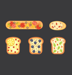 set toasts and sandwich breakfast bread toast vector image