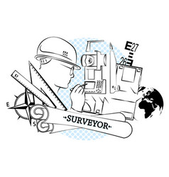 Surveying and architecture silhouette vector