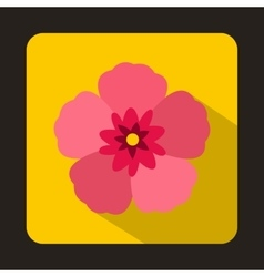 The rose of sharon icon flat style vector