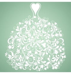 White wedding dress vintage silhouette vector image