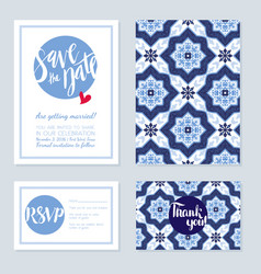 Antique vintage card wedding azulejos in vector