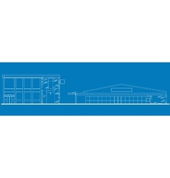 Shopping center building front blue print vector