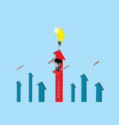 Businessman with lightbulb and red arrow vector
