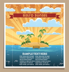 Retro sunset poster vector