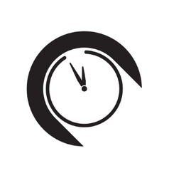 Black icon with clock and stylized shadow vector