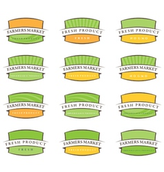 Set of farm labels vector
