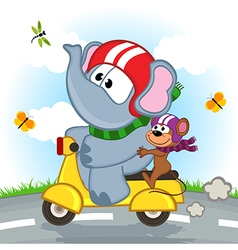 Elephant and mouse riding scooter vector
