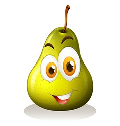 Green pear with happy face vector