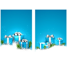 Blue christmas banners with gift boxes vector