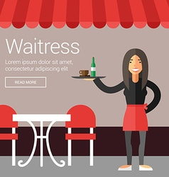Profession people waitress flat design concept for vector