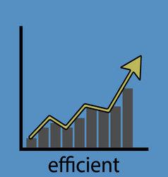 Rising efficiency graph icon vector
