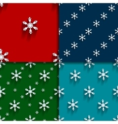 Seamless pattern set with snowflakes vector
