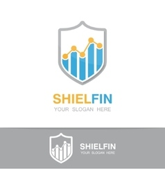 Logo combination of a graph and shield vector