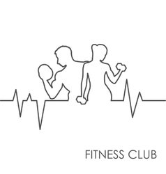 Fitness club black and white vector