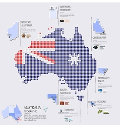 Dot and flag map of australia infographic design vector