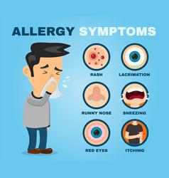 Allergy symptoms problem infographic vector