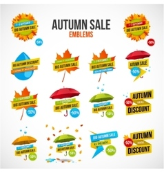 Autumn Sale Discount Logos or Emblems Set vector image