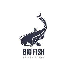 Big fish flat icon pictogram silhouette vector