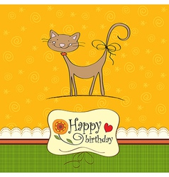 birthday card with funny cat vector image vector image