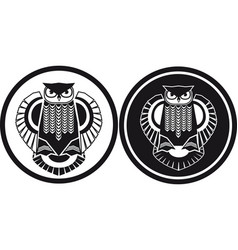 Black and white owl stylised view vector