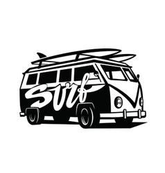 black surfing badge vector image vector image