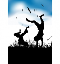 Boys playing on summer field vector