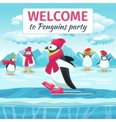 Cartoon penguins skating vector image