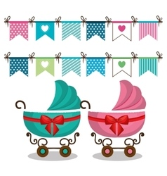 Carts baby card icon vector