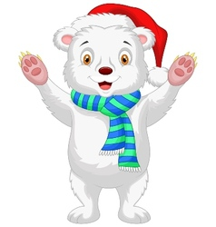 Cute baby polar bear cartoon wearing red hat vector