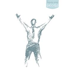 Draw success businessman raising arm winner vector image vector image