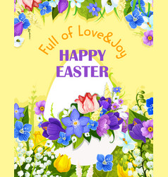 easter egg paschal flowers greeting card vector image vector image