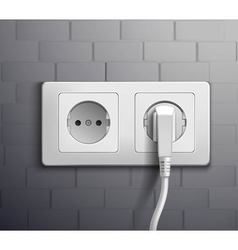 Electric Socket Cabel Plugged vector image