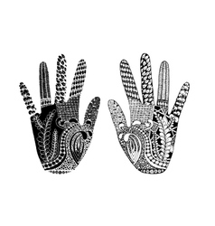 Floral palm hand drawn zentangle style for our vector