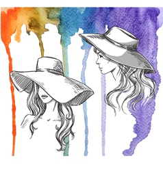 Girls in hats on a watercolor background vector image vector image