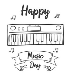 Happy music day celebration art vector