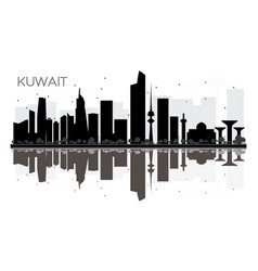kuwait city skyline black and white silhouette vector image