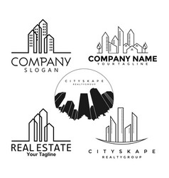 logo real estate buildings set vector image