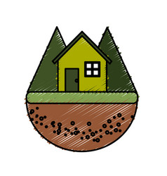 Nice house in the forest witn mountains vector