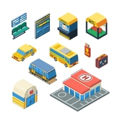 Passenger Transportation Isometric Icons vector image