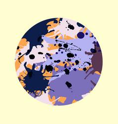 Purple lilac orange brown ink splashes round vector