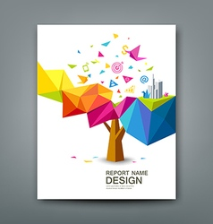 Rreport colorful tree business icons vector