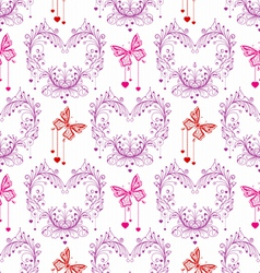 seamless FLORAL and butterfly background vector image