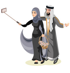 selfie happy muslim arabic couple vector image
