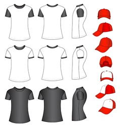 shirts and baseball caps vector image