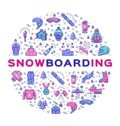 snowboarding icon Snowboard infographics vector image vector image